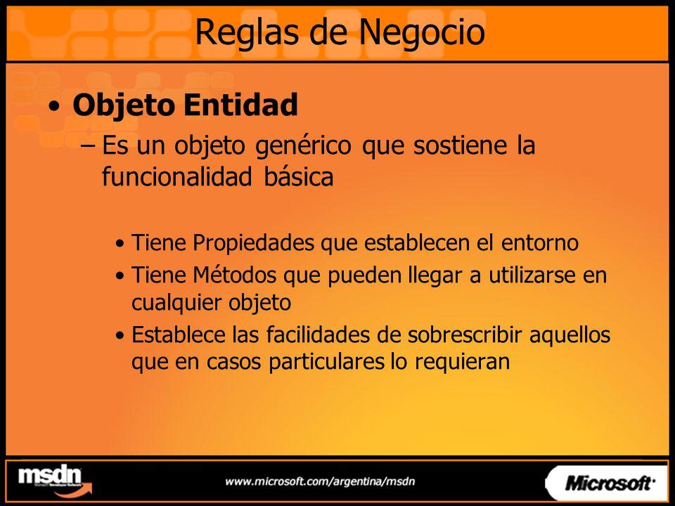 Objeto Entidad –Es un objeto genérico que sostiene la funcionalidad básica Tiene Propiedades que establecen el entorno Tiene Métodos que pueden llegar