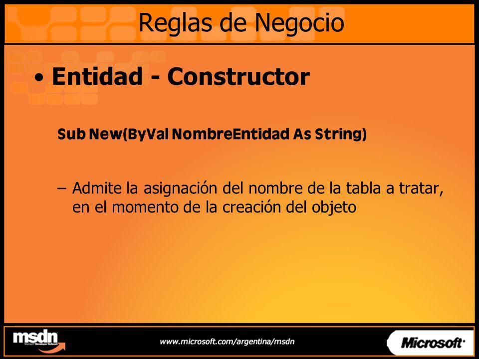 Entidad - Constructor Sub New(ByVal NombreEntidad As String) –Admite la asignación del nombre de la tabla a tratar, en el momento de la creación del o
