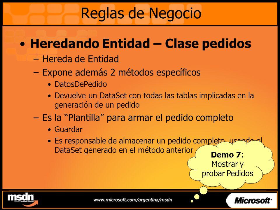 Heredando Entidad – Clase pedidos –Hereda de Entidad –Expone además 2 métodos específicos DatosDePedido Devuelve un DataSet con todas las tablas impli