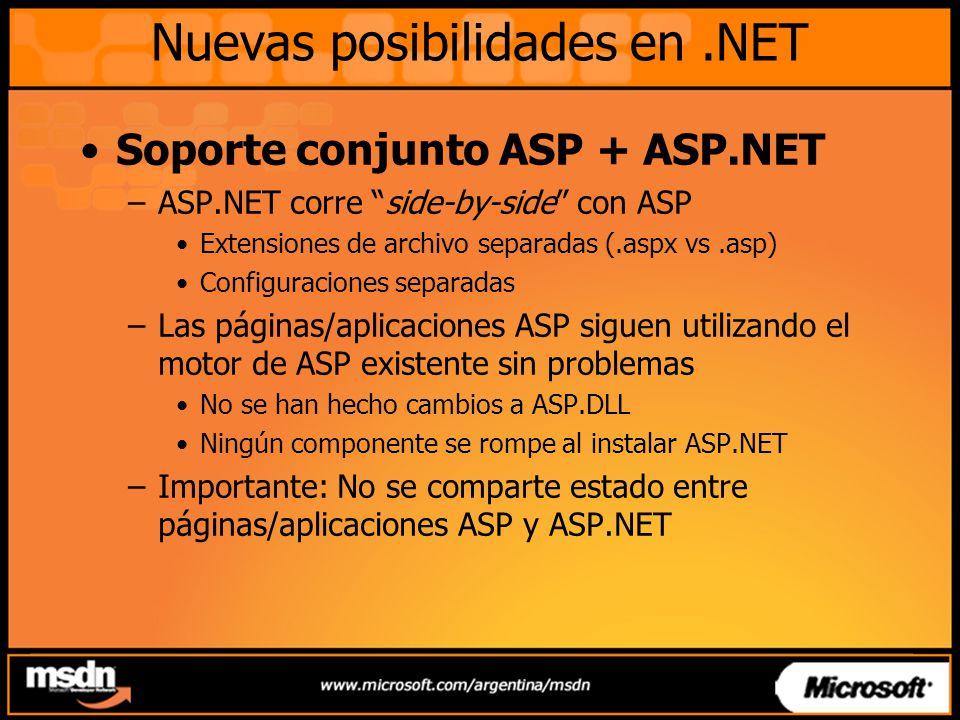 Nuevas posibilidades en.NET Ventajas de ASP.NET –Web Forms Permiten programar las páginas Webs al estilo de los formularios de Windows –ASP.NET permite separar el código de presentación con la lógica de pagina (Code Behind) –Server Controls Web Forms Controls HTML Server Controls –Eventos en el Servidor Captura en el servidor los eventos disparados por los controles que se visualizan en el cliente