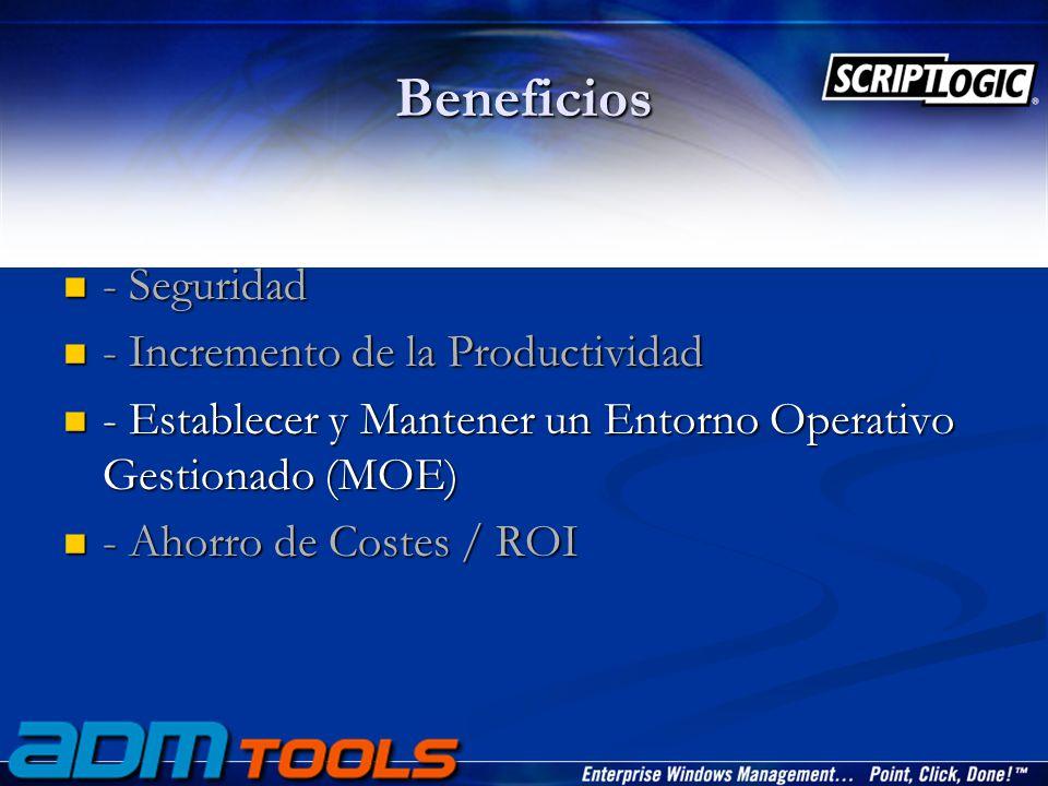 Beneficios - Seguridad - Seguridad - Incremento de la Productividad - Incremento de la Productividad - Establecer y Mantener un Entorno Operativo Gestionado (MOE) - Establecer y Mantener un Entorno Operativo Gestionado (MOE) - Ahorro de Costes / ROI - Ahorro de Costes / ROI