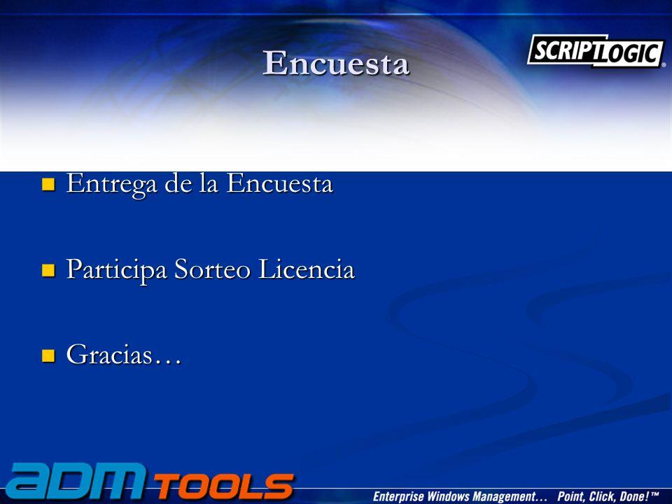 Encuesta Entrega de la Encuesta Entrega de la Encuesta Participa Sorteo Licencia Participa Sorteo Licencia Gracias… Gracias…