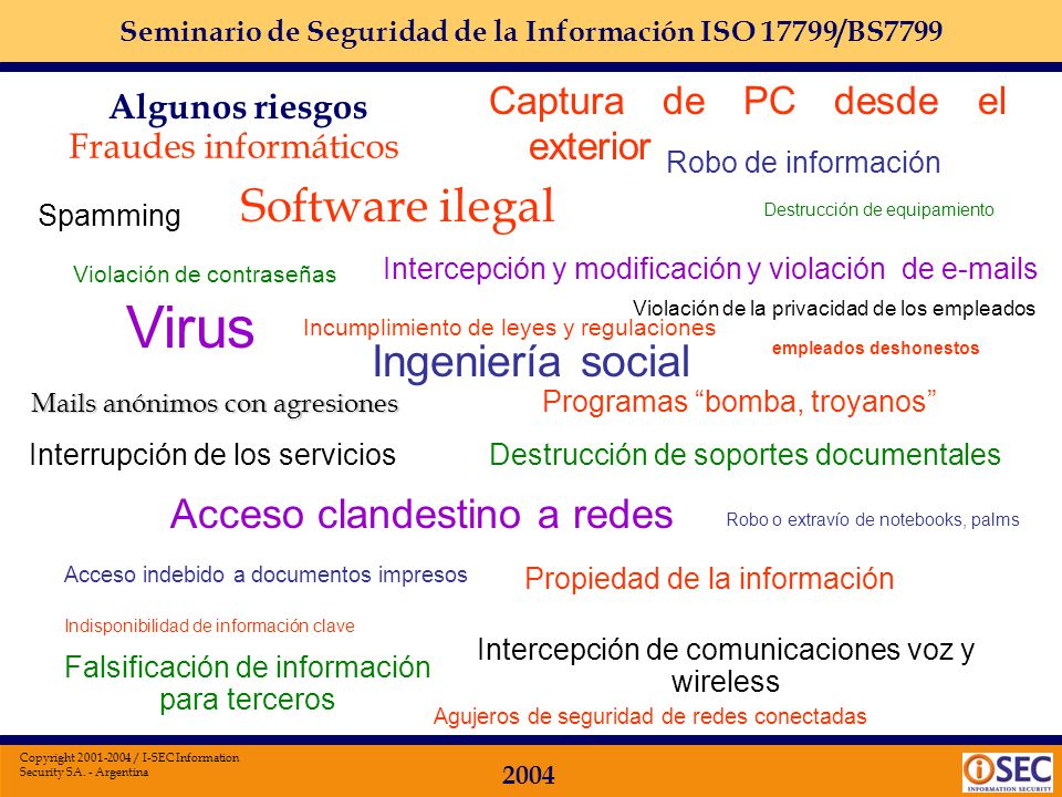 Seminario de Seguridad de la Información ISO 17799/BS7799 2004 Copyright 2001-2004 / I-SEC Information Security SA. - Argentina Algunos riesgos