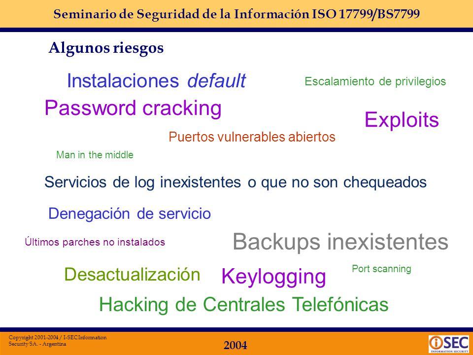 Seminario de Seguridad de la Información ISO 17799/BS7799 2004 Copyright 2001-2004 / I-SEC Information Security SA. - Argentina Captura de PC desde el