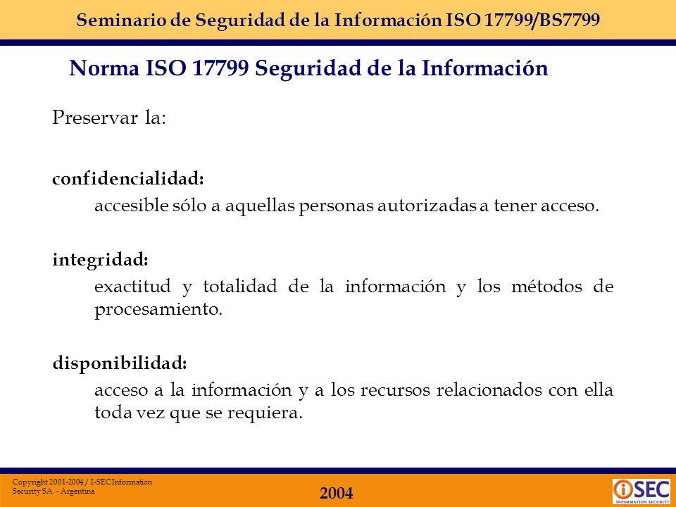 Seminario de Seguridad de la Información ISO 17799/BS7799 2004 Copyright 2001-2004 / I-SEC Information Security SA. - Argentina Está organizada en die