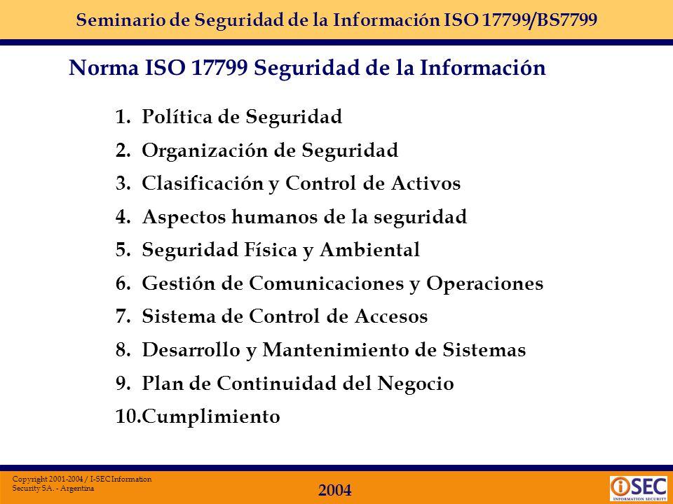 Seminario de Seguridad de la Información ISO 17799/BS7799 2004 Copyright 2001-2004 / I-SEC Information Security SA. - Argentina Preservar la: confiden
