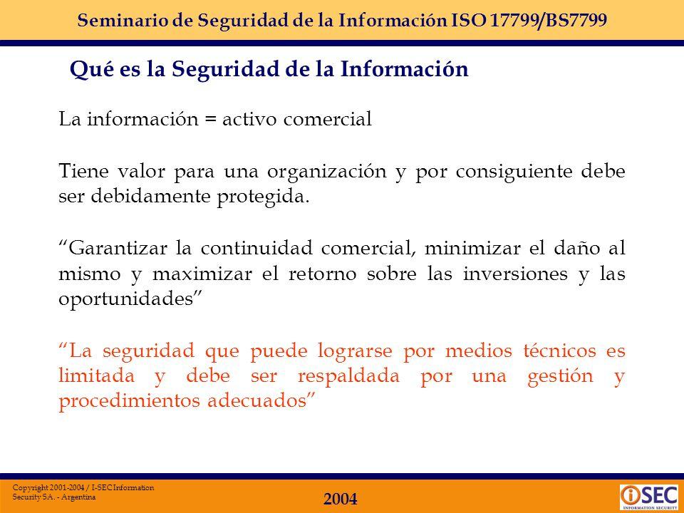 Seminario de Seguridad de la Información ISO 17799/BS7799 2004 Copyright 2001-2004 / I-SEC Information Security SA. - Argentina 1. Política de Segurid
