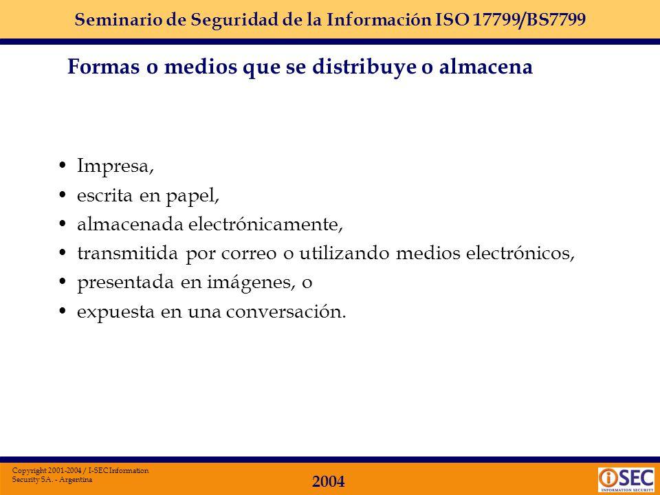 Seminario de Seguridad de la Información ISO 17799/BS7799 2004 Copyright 2001-2004 / I-SEC Information Security SA. - Argentina La información = activ