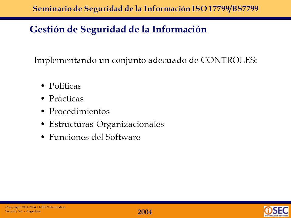 Seminario de Seguridad de la Información ISO 17799/BS7799 2004 Copyright 2001-2004 / I-SEC Information Security SA. - Argentina Impresa, escrita en pa