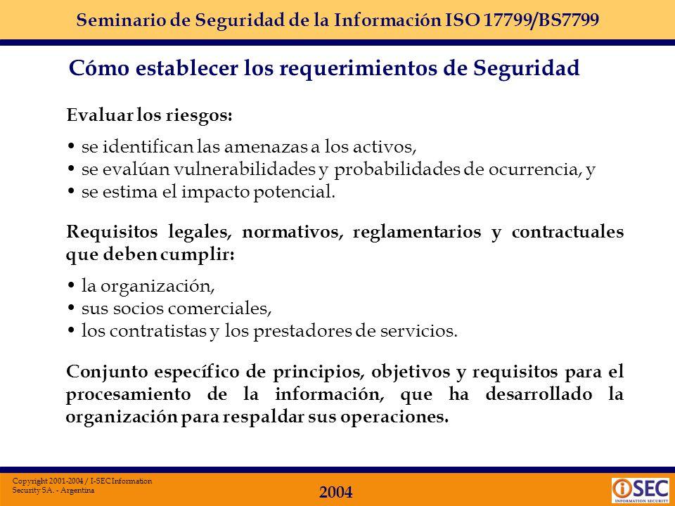 Seminario de Seguridad de la Información ISO 17799/BS7799 2004 Copyright 2001-2004 / I-SEC Information Security SA. - Argentina Implementando un conju