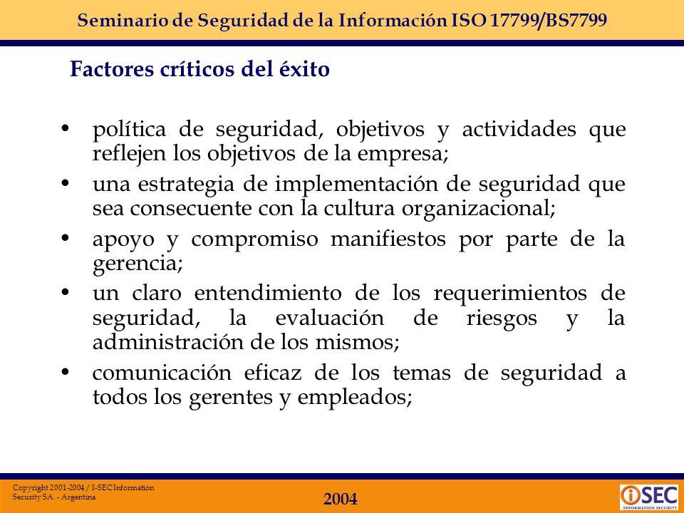 Seminario de Seguridad de la Información ISO 17799/BS7799 2004 Copyright 2001-2004 / I-SEC Information Security SA. - Argentina Selección de controles