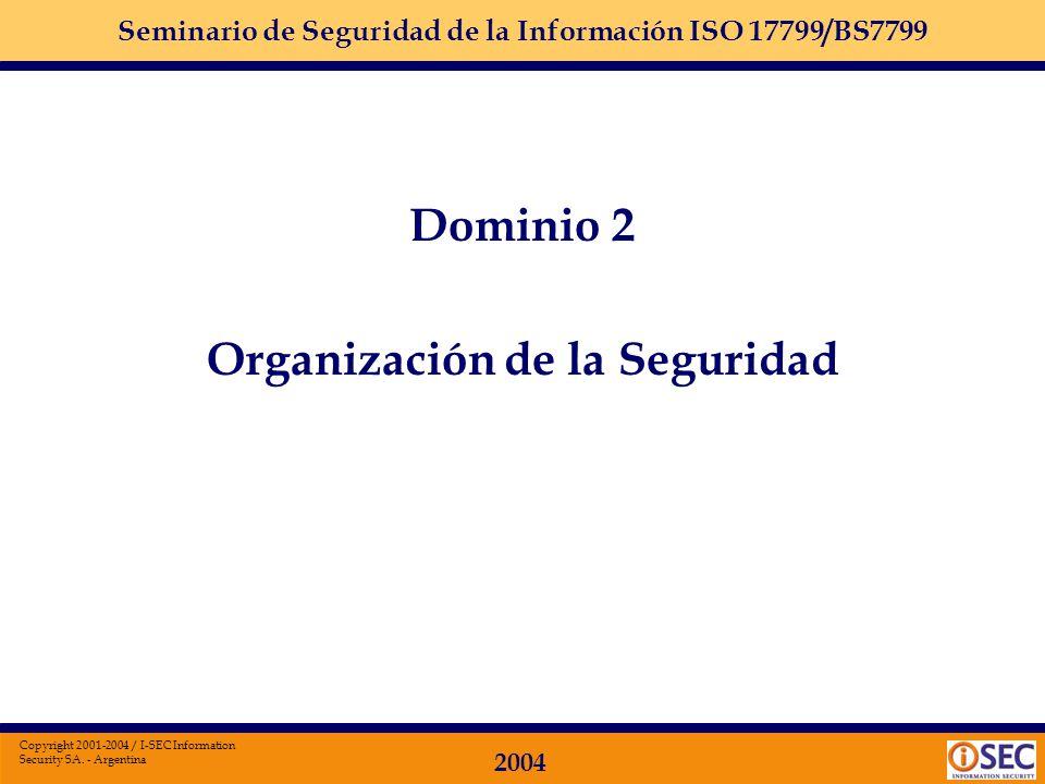 Seminario de Seguridad de la Información ISO 17799/BS7799 2004 Copyright 2001-2004 / I-SEC Information Security SA. - Argentina Dominio 1: POLÍTICA DE
