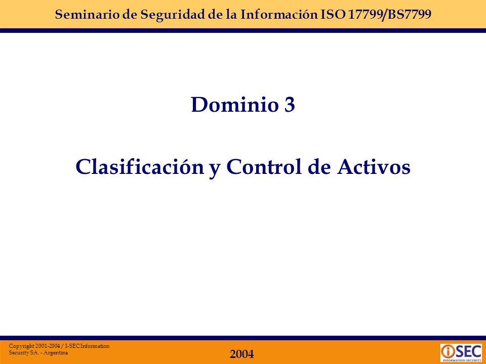 Seminario de Seguridad de la Información ISO 17799/BS7799 2004 Copyright 2001-2004 / I-SEC Information Security SA. - Argentina Dominio 2: ORGANIZACIO