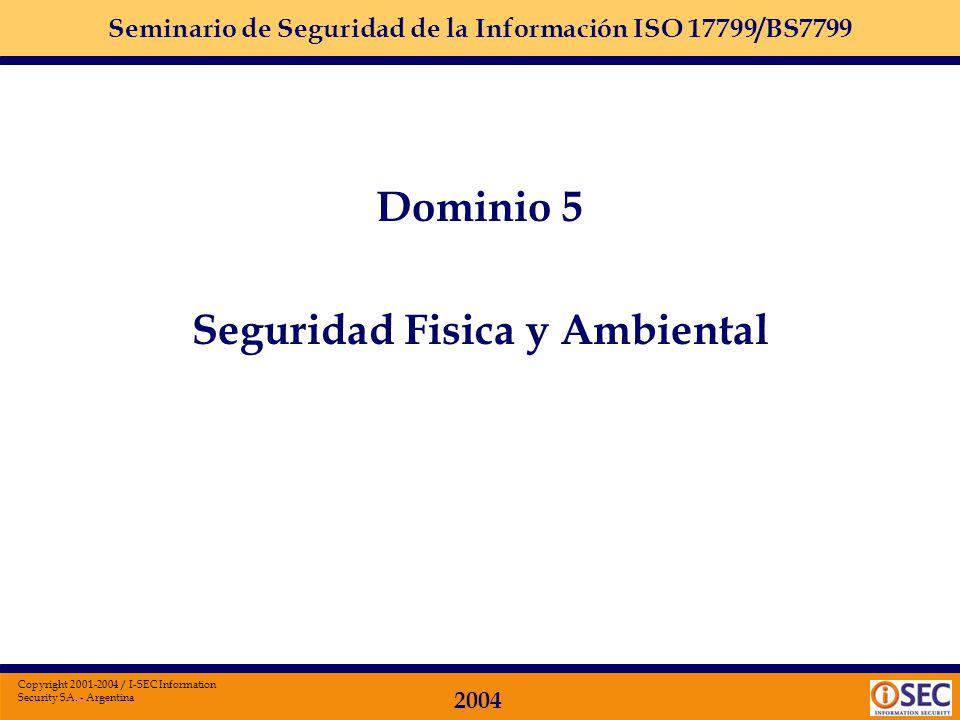 Seminario de Seguridad de la Información ISO 17799/BS7799 2004 Copyright 2001-2004 / I-SEC Information Security SA. - Argentina Dominio 4: SEGURIDAD D