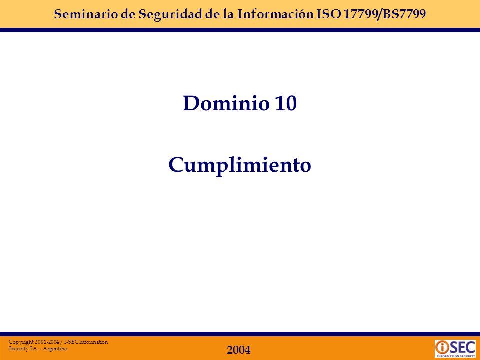 Seminario de Seguridad de la Información ISO 17799/BS7799 2004 Copyright 2001-2004 / I-SEC Information Security SA. - Argentina Dominio 9: PLAN DE CON