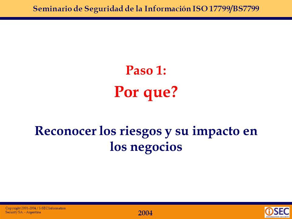 Seminario de Seguridad de la Información ISO 17799/BS7799 2004 Copyright 2001-2004 / I-SEC Information Security SA. - Argentina Instructores Tania Coz