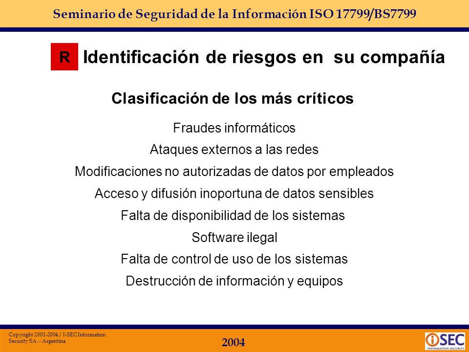 Seminario de Seguridad de la Información ISO 17799/BS7799 2004 Copyright 2001-2004 / I-SEC Information Security SA. - Argentina R Identificación de lo