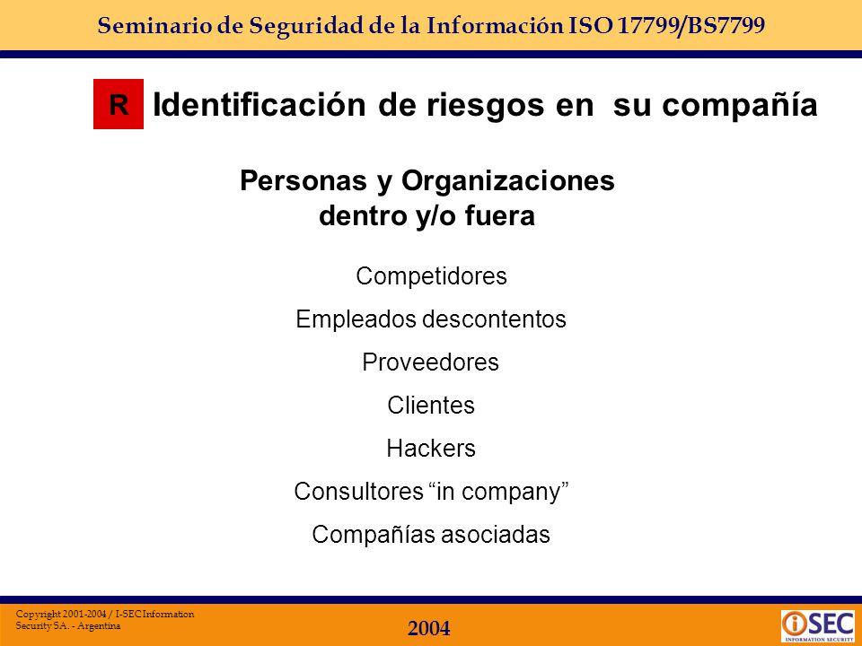 Seminario de Seguridad de la Información ISO 17799/BS7799 2004 Copyright 2001-2004 / I-SEC Information Security SA. - Argentina Identificación de ries