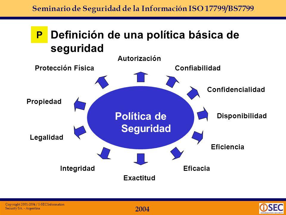 Seminario de Seguridad de la Información ISO 17799/BS7799 2004 Copyright 2001-2004 / I-SEC Information Security SA. - Argentina Definición de una polí