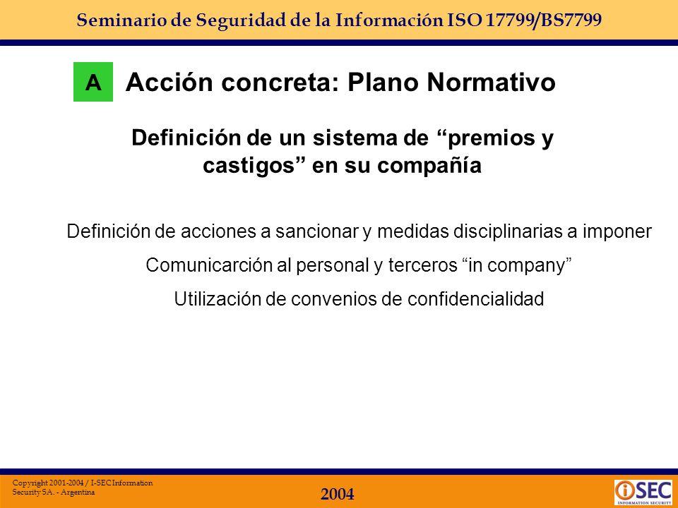 Seminario de Seguridad de la Información ISO 17799/BS7799 2004 Copyright 2001-2004 / I-SEC Information Security SA. - Argentina Acción concreta: Plano