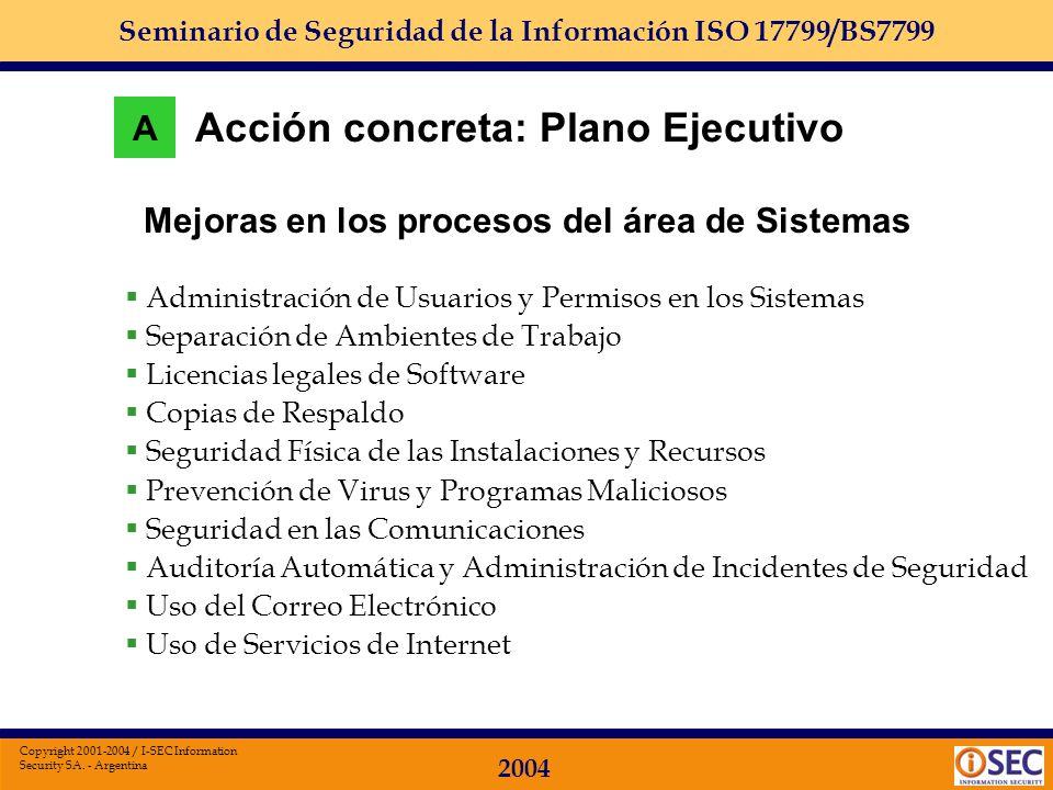 Seminario de Seguridad de la Información ISO 17799/BS7799 2004 Copyright 2001-2004 / I-SEC Information Security SA. - Argentina Perfil de la función A