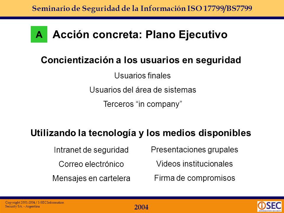 Seminario de Seguridad de la Información ISO 17799/BS7799 2004 Copyright 2001-2004 / I-SEC Information Security SA. - Argentina Acciones preventivas d