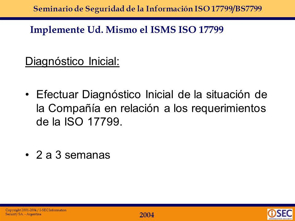 Seminario de Seguridad de la Información ISO 17799/BS7799 2004 Copyright 2001-2004 / I-SEC Information Security SA. - Argentina Implemente Ud. Mismo e