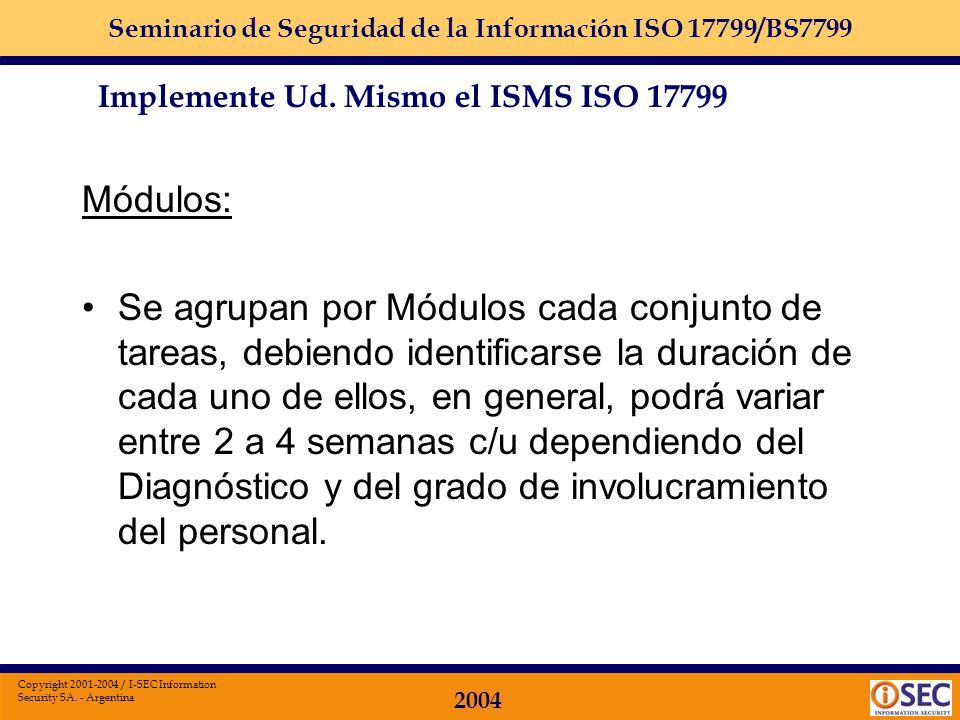 Seminario de Seguridad de la Información ISO 17799/BS7799 2004 Copyright 2001-2004 / I-SEC Information Security SA. - Argentina Diagnóstico Inicial: E