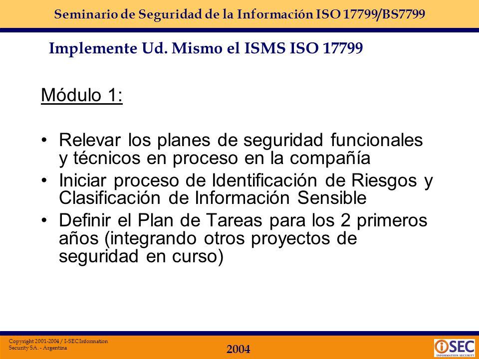 Seminario de Seguridad de la Información ISO 17799/BS7799 2004 Copyright 2001-2004 / I-SEC Information Security SA. - Argentina Módulos: Se agrupan po