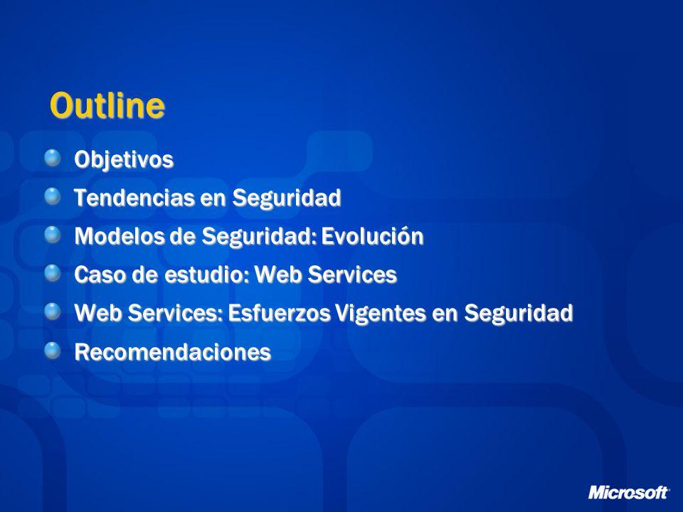 Outline Objetivos Tendencias en Seguridad Modelos de Seguridad: Evolución Caso de estudio: Web Services Web Services: Esfuerzos Vigentes en Seguridad Recomendaciones