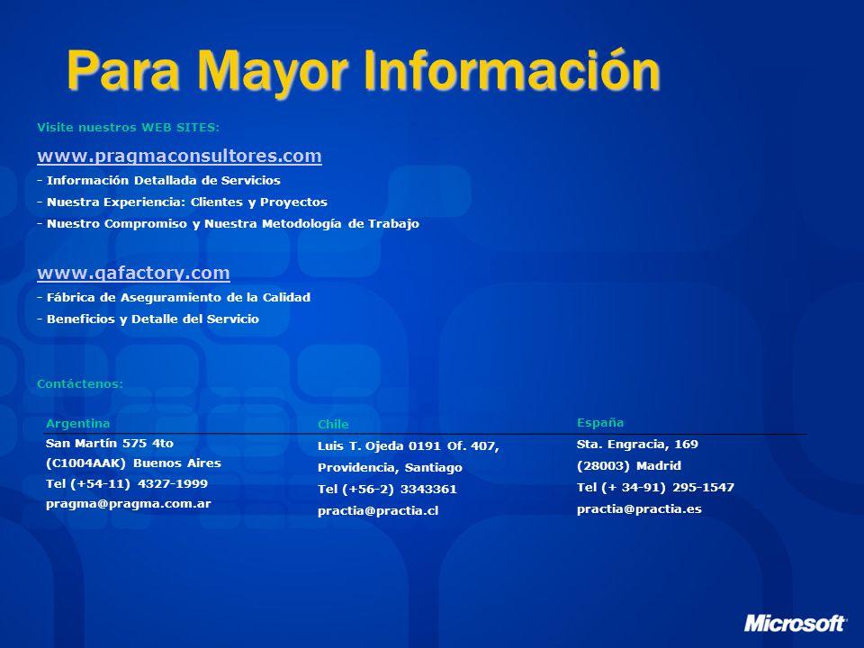 Para Mayor Información Argentina San Martín 575 4to (C1004AAK) Buenos Aires Tel (+54-11) 4327-1999 pragma@pragma.com.ar España Sta.