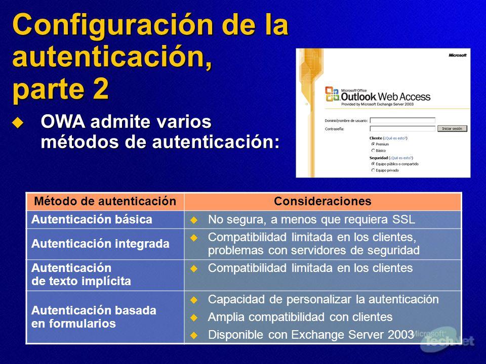 Configuración de la autenticación, parte 2 Método de autenticaciónConsideraciones Autenticación básica No segura, a menos que requiera SSL Autenticación integrada Compatibilidad limitada en los clientes, problemas con servidores de seguridad Autenticación de texto implícita Compatibilidad limitada en los clientes Autenticación basada en formularios Capacidad de personalizar la autenticación Amplia compatibilidad con clientes Disponible con Exchange Server 2003 OWA admite varios métodos de autenticación: OWA admite varios métodos de autenticación: