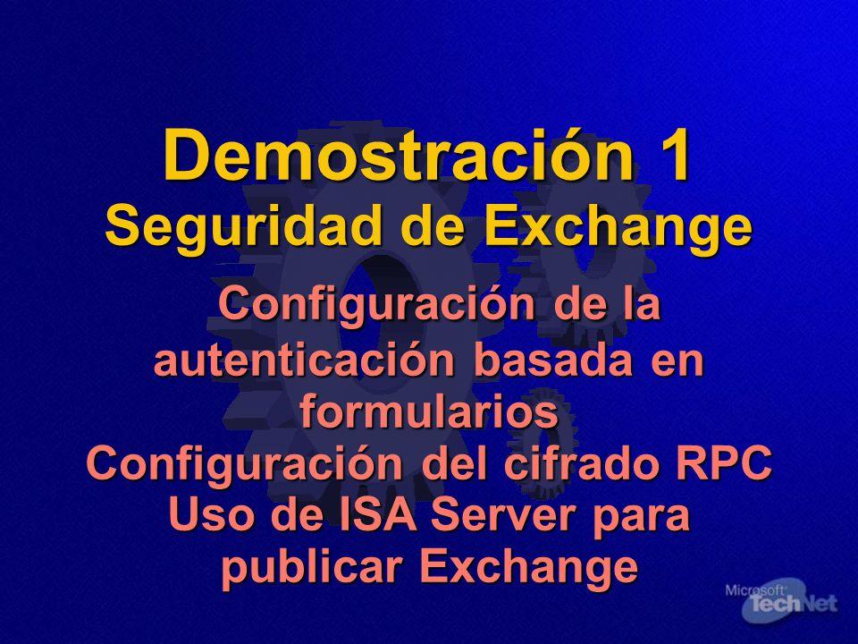Demostración 1 Seguridad de Exchange Configuración de la autenticación basada en formularios Configuración del cifrado RPC Uso de ISA Server para publicar Exchange