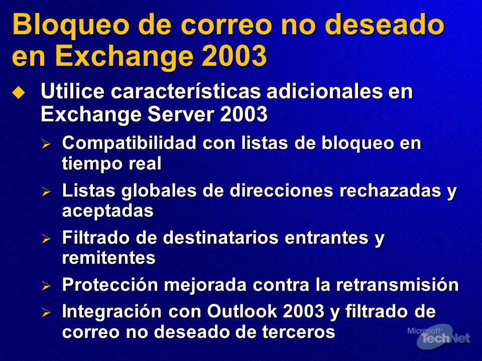 Bloqueo de correo no deseado en Exchange 2003 Utilice características adicionales en Exchange Server 2003 Utilice características adicionales en Exchange Server 2003 Compatibilidad con listas de bloqueo en tiempo real Compatibilidad con listas de bloqueo en tiempo real Listas globales de direcciones rechazadas y aceptadas Listas globales de direcciones rechazadas y aceptadas Filtrado de destinatarios entrantes y remitentes Filtrado de destinatarios entrantes y remitentes Protección mejorada contra la retransmisión Protección mejorada contra la retransmisión Integración con Outlook 2003 y filtrado de correo no deseado de terceros Integración con Outlook 2003 y filtrado de correo no deseado de terceros