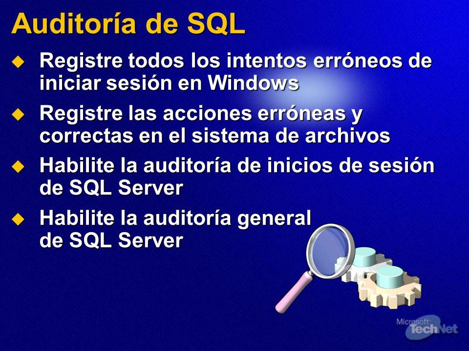 Auditoría de SQL Registre todos los intentos erróneos de iniciar sesión en Windows Registre todos los intentos erróneos de iniciar sesión en Windows Registre las acciones erróneas y correctas en el sistema de archivos Registre las acciones erróneas y correctas en el sistema de archivos Habilite la auditoría de inicios de sesión de SQL Server Habilite la auditoría de inicios de sesión de SQL Server Habilite la auditoría general de SQL Server Habilite la auditoría general de SQL Server