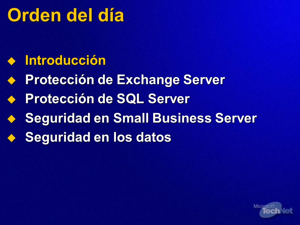 Seguridad en las comunicaciones Configure el cifrado RPC Configure el cifrado RPC Configuración en el cliente Configuración en el cliente Aplicación con el paquete de características 1 de ISA Server Aplicación con el paquete de características 1 de ISA Server Bloqueo del servidor de seguridad Bloqueo del servidor de seguridad Publicación del servidor de correo con ISA Server Publicación del servidor de correo con ISA Server Configure HTTPS para OWA Configure HTTPS para OWA Utilice S/MIME para el cifrado de los mensajes Utilice S/MIME para el cifrado de los mensajes Mejoras de Outlook 2003 Mejoras de Outlook 2003 Autenticación de Kerberos Autenticación de Kerberos RPC sobre HTTPS RPC sobre HTTPS