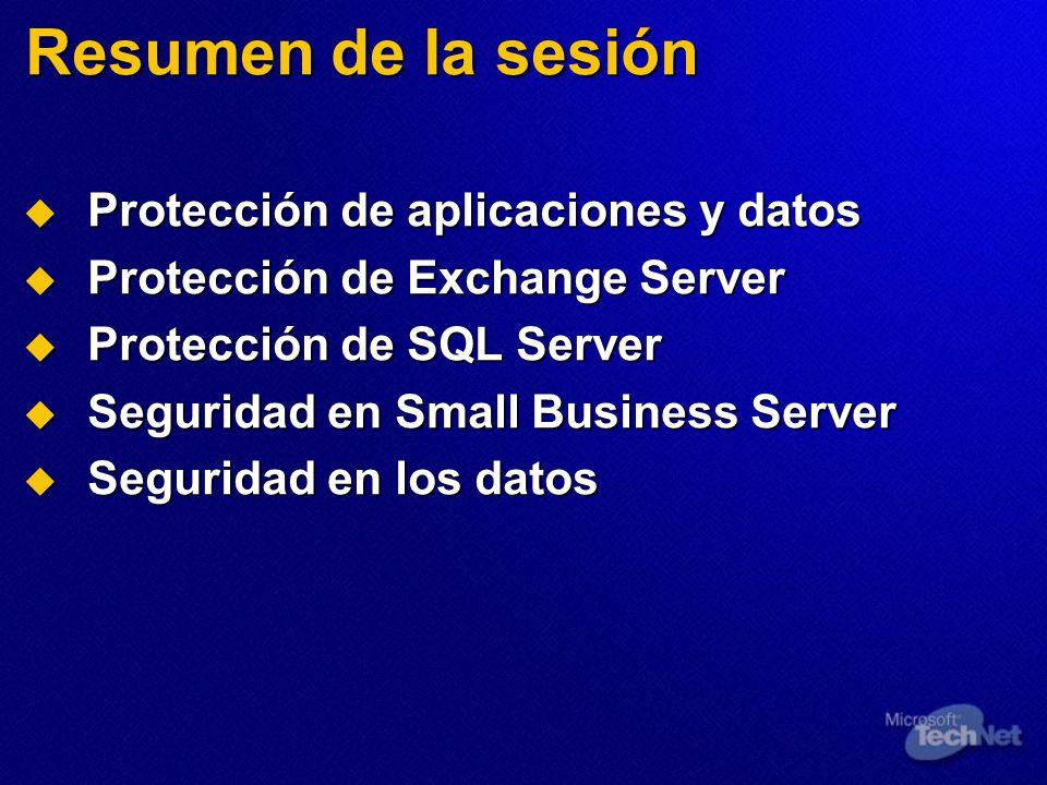 Resumen de la sesión Protección de aplicaciones y datos Protección de aplicaciones y datos Protección de Exchange Server Protección de Exchange Server Protección de SQL Server Protección de SQL Server Seguridad en Small Business Server Seguridad en Small Business Server Seguridad en los datos Seguridad en los datos