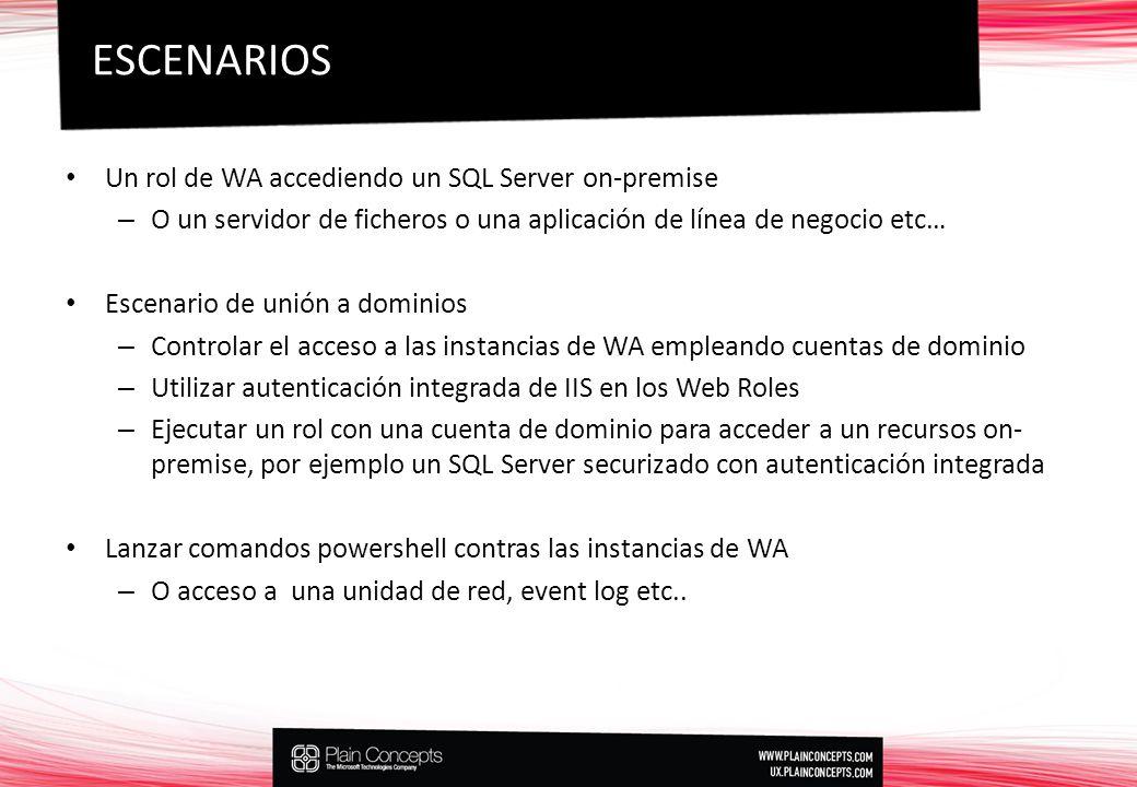 Un rol de WA accediendo un SQL Server on-premise – O un servidor de ficheros o una aplicación de línea de negocio etc… Escenario de unión a dominios – Controlar el acceso a las instancias de WA empleando cuentas de dominio – Utilizar autenticación integrada de IIS en los Web Roles – Ejecutar un rol con una cuenta de dominio para acceder a un recursos on- premise, por ejemplo un SQL Server securizado con autenticación integrada Lanzar comandos powershell contras las instancias de WA – O acceso a una unidad de red, event log etc..