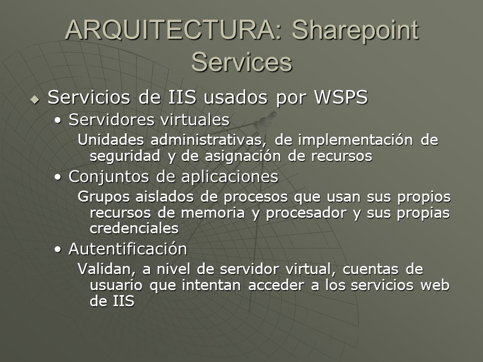 ARQUITECTURA: Sharepoint Services Servicios de IIS usados por WSPS Servicios de IIS usados por WSPS Servidores virtualesServidores virtuales Unidades