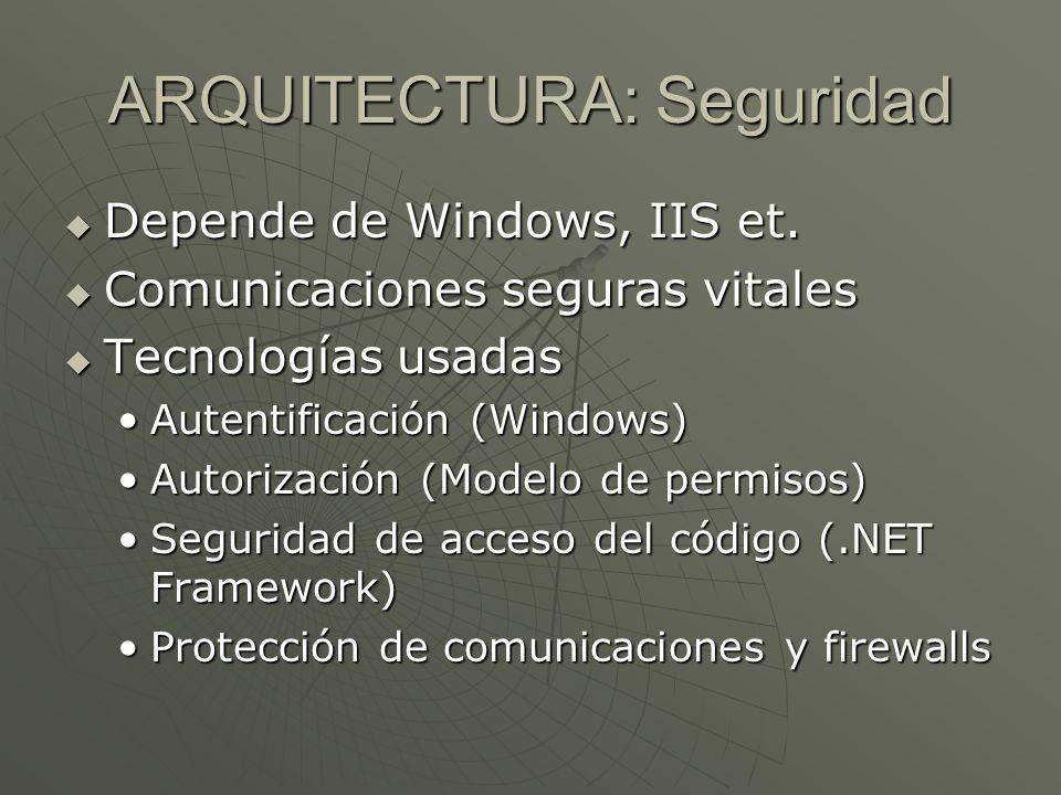 ARQUITECTURA: Seguridad Depende de Windows, IIS et. Depende de Windows, IIS et. Comunicaciones seguras vitales Comunicaciones seguras vitales Tecnolog