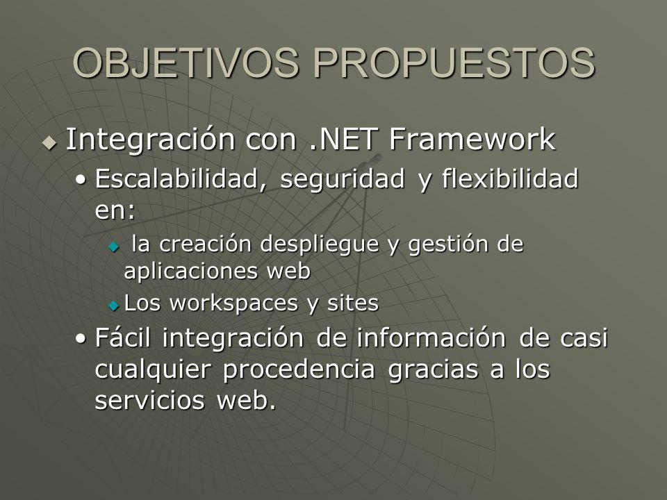 OBJETIVOS PROPUESTOS Integración con.NET Framework Integración con.NET Framework Escalabilidad, seguridad y flexibilidad en:Escalabilidad, seguridad y
