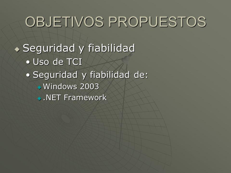 OBJETIVOS PROPUESTOS Seguridad y fiabilidad Seguridad y fiabilidad Uso de TCIUso de TCI Seguridad y fiabilidad de:Seguridad y fiabilidad de: Windows 2