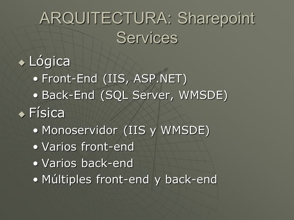ARQUITECTURA: Sharepoint Services Lógica Lógica Front-End (IIS, ASP.NET)Front-End (IIS, ASP.NET) Back-End (SQL Server, WMSDE)Back-End (SQL Server, WMS
