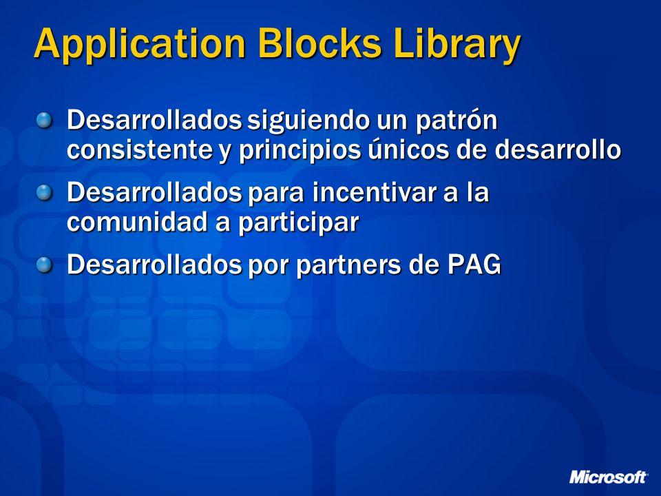 Application Blocks Library Desarrollados siguiendo un patrón consistente y principios únicos de desarrollo Desarrollados para incentivar a la comunida