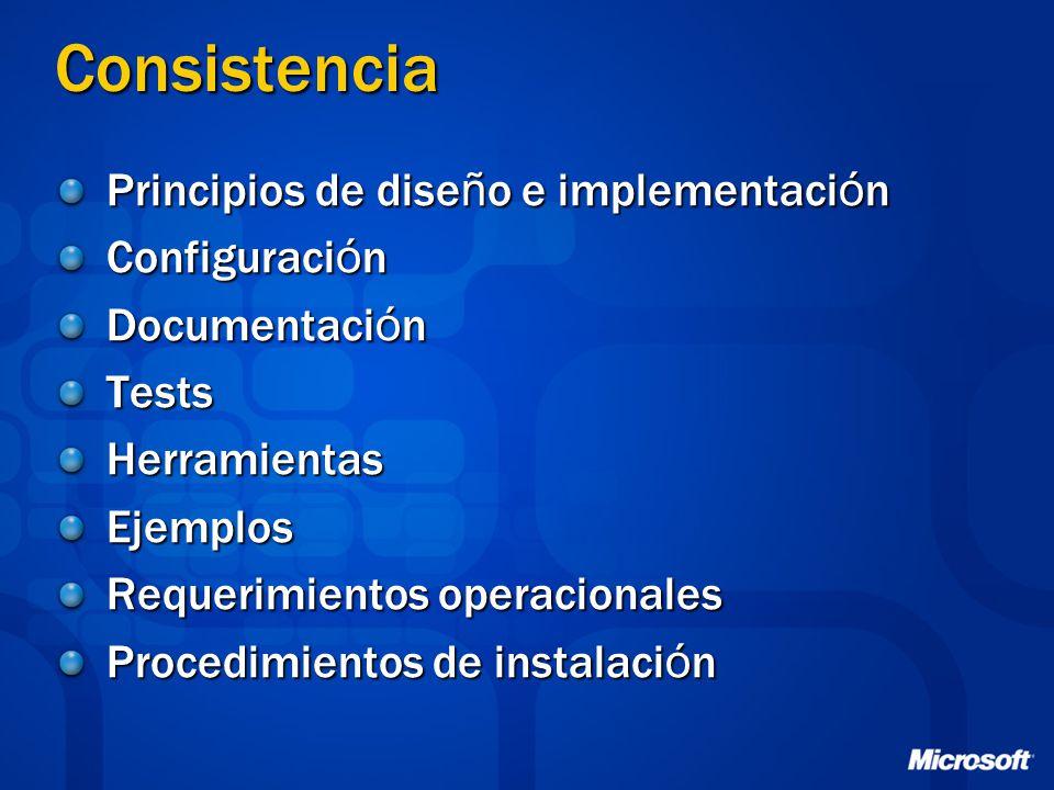 Consistencia Principios de dise ñ o e implementaci ó n Configuraci ó n Documentaci ó n TestsHerramientasEjemplos Requerimientos operacionales Procedim