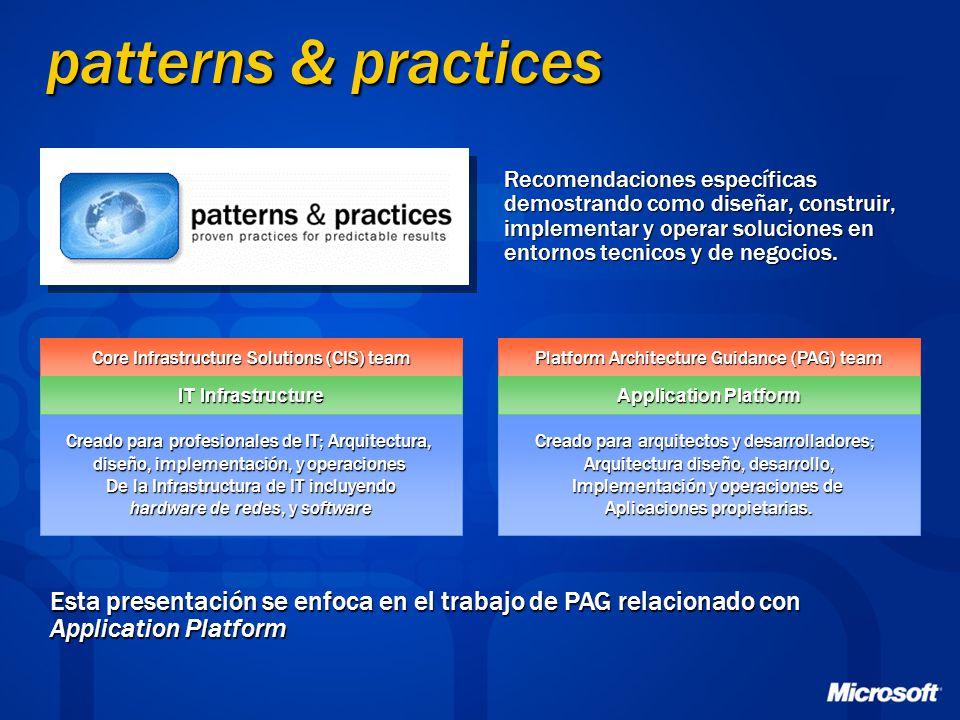 patterns & practices Recomendaciones específicas demostrando como diseñar, construir, implementar y operar soluciones en entornos tecnicos y de negoci