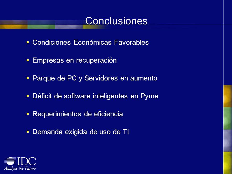 Conclusiones Condiciones Económicas Favorables Empresas en recuperación Parque de PC y Servidores en aumento Déficit de software inteligentes en Pyme Requerimientos de eficiencia Demanda exigida de uso de TI