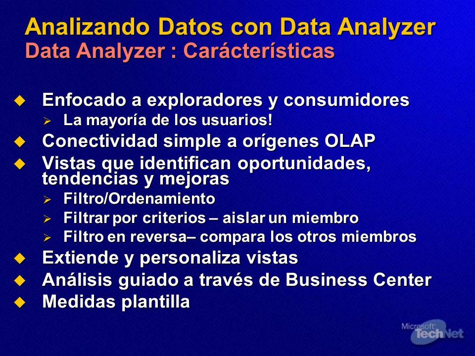 Analizando Datos con Data Analyzer Data Analyzer : Carácterísticas Enfocado a exploradores y consumidores Enfocado a exploradores y consumidores La mayoría de los usuarios.