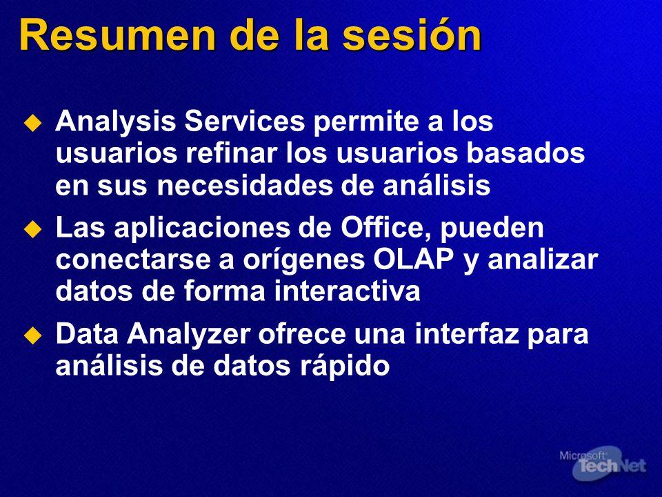 Resumen de la sesión Analysis Services permite a los usuarios refinar los usuarios basados en sus necesidades de análisis Las aplicaciones de Office, pueden conectarse a orígenes OLAP y analizar datos de forma interactiva Data Analyzer ofrece una interfaz para análisis de datos rápido