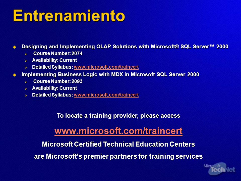 Entrenamiento Designing and Implementing OLAP Solutions with Microsoft® SQL Server 2000 Designing and Implementing OLAP Solutions with Microsoft® SQL